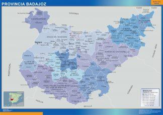Mapa Badajoz por municipios plastificado gigante