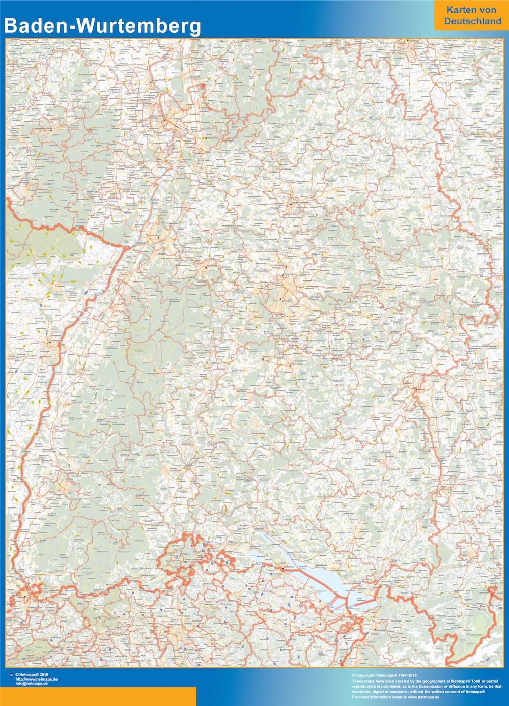 Mapa Baden-Wurtemberg plastificado gigante