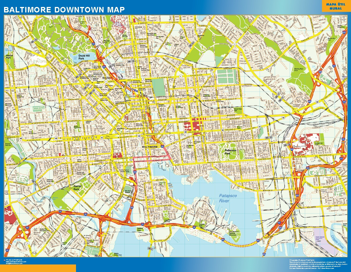 Mapa Baltimore downtown plastificado gigante