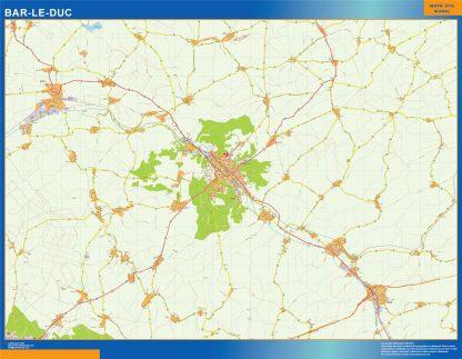 Mapa Bar Le Duc en Francia plastificado gigante
