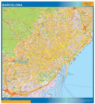 Mapa Barcelona callejero plastificado gigante