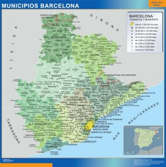Mapa Barcelona por municipios plastificado gigante
