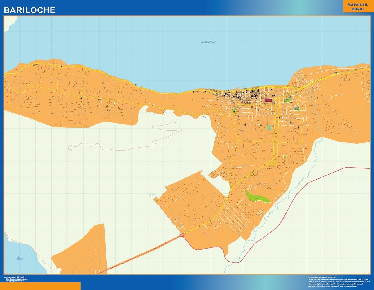 Mapa Bariloche en Argentina plastificado gigante