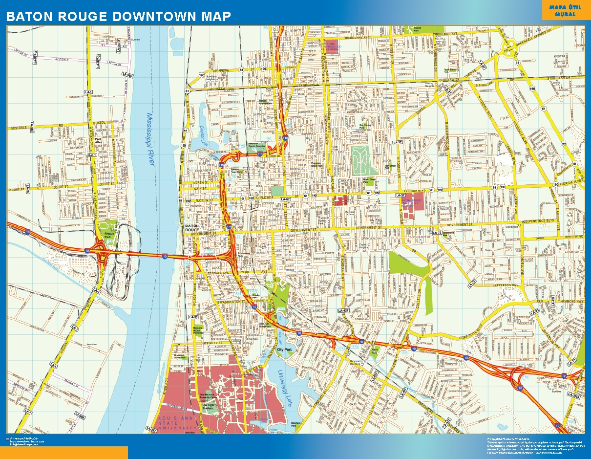 Mapa Baton Rouge downtown plastificado gigante