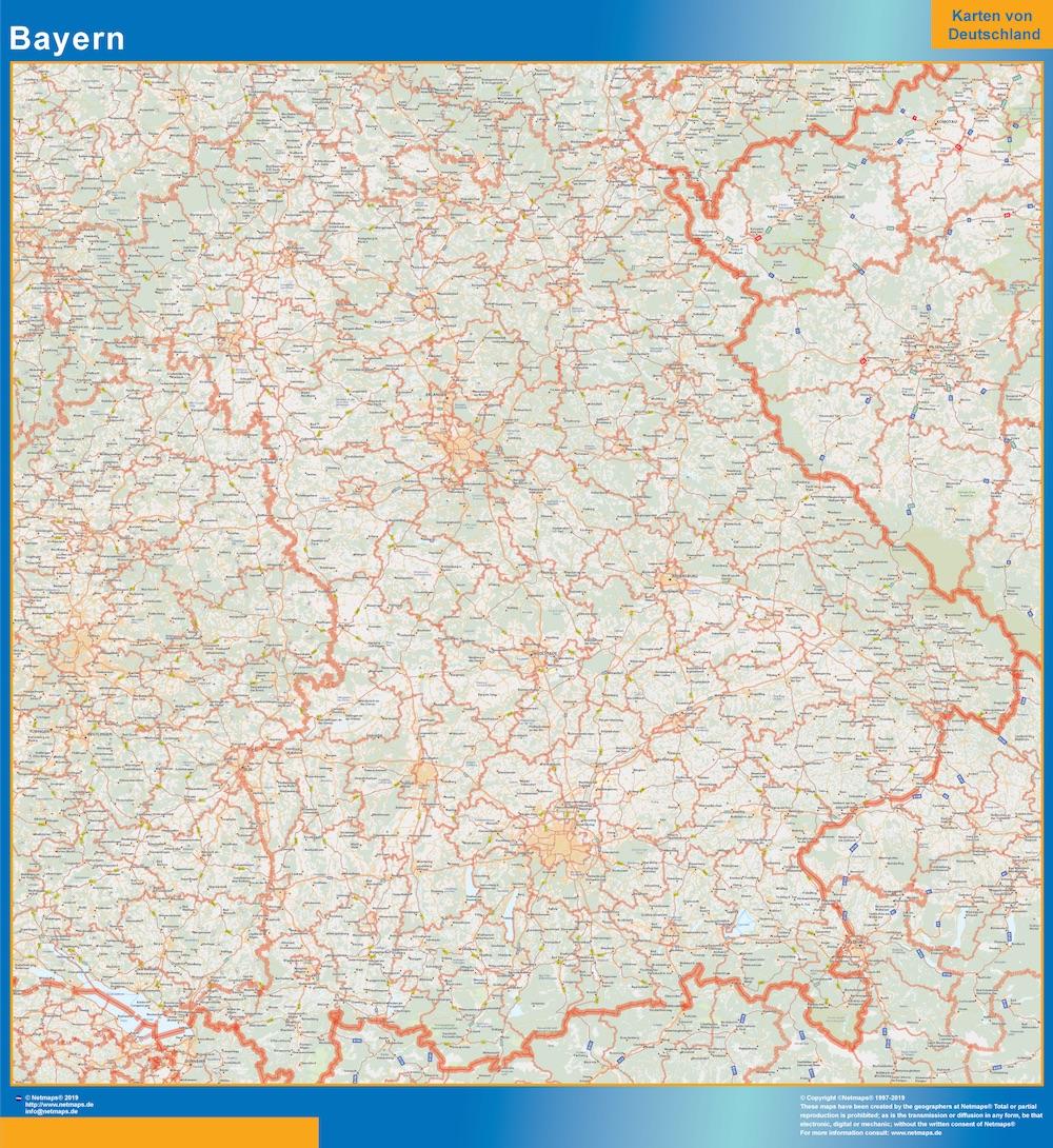 Mapa Baviera plastificado gigante