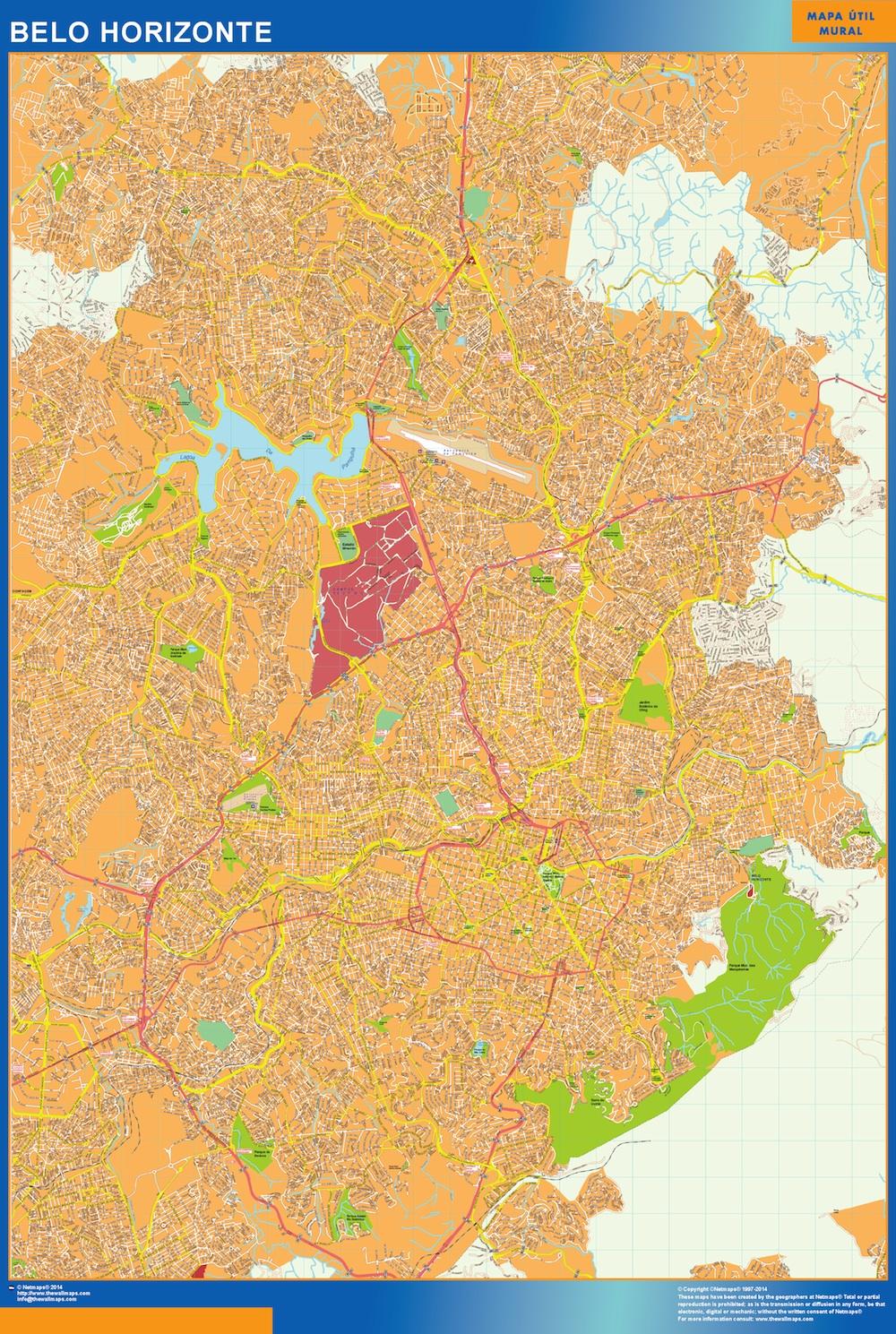 Mapa Belo Horizonte Brasil plastificado gigante