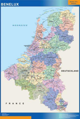 Mapa Benelux plastificado gigante