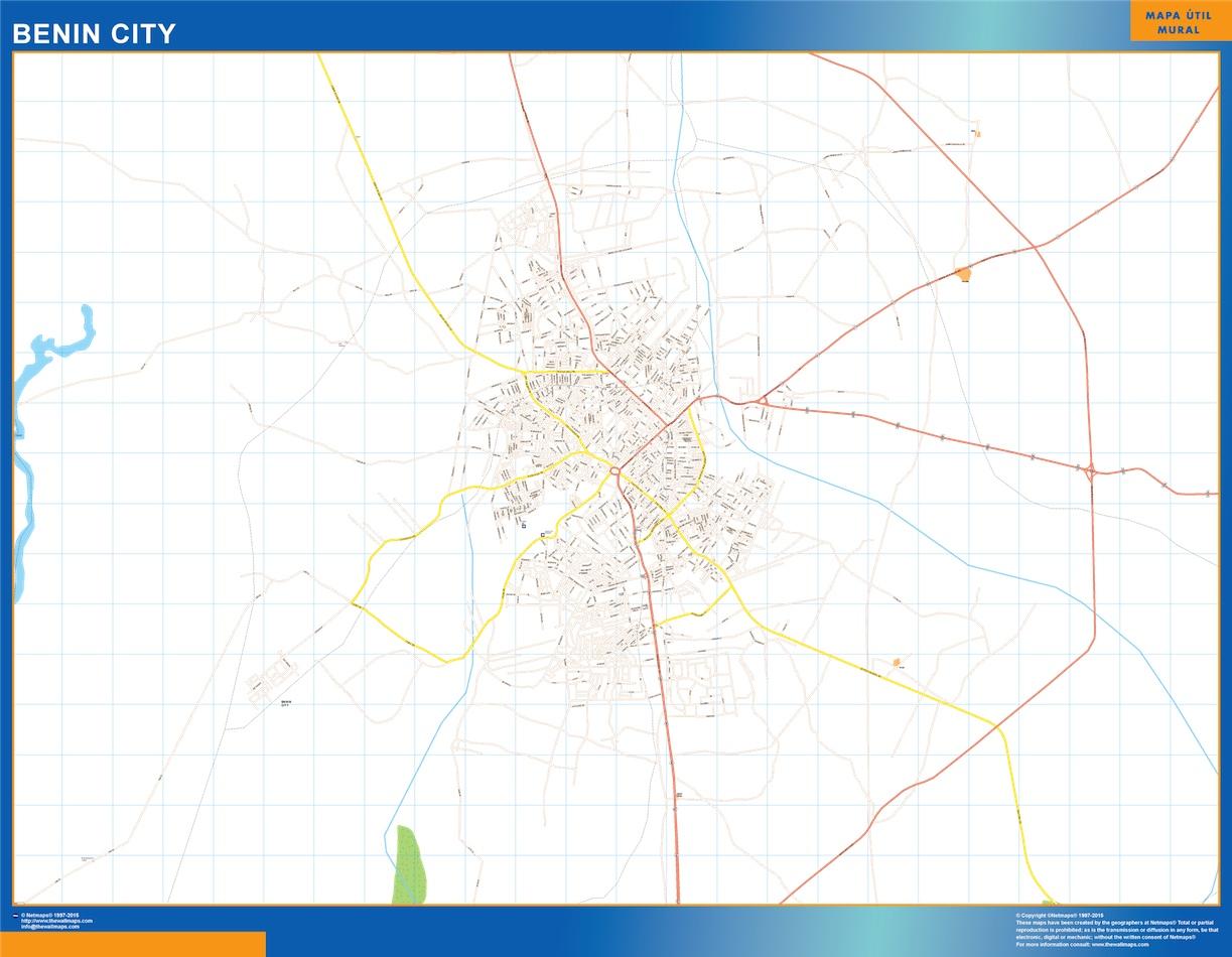 Mapa Benin City en Nigeria plastificado gigante
