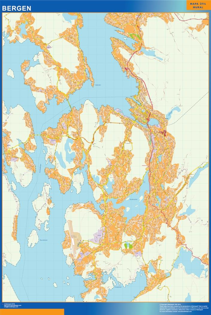 Mapa Bergen en Noruega plastificado gigante