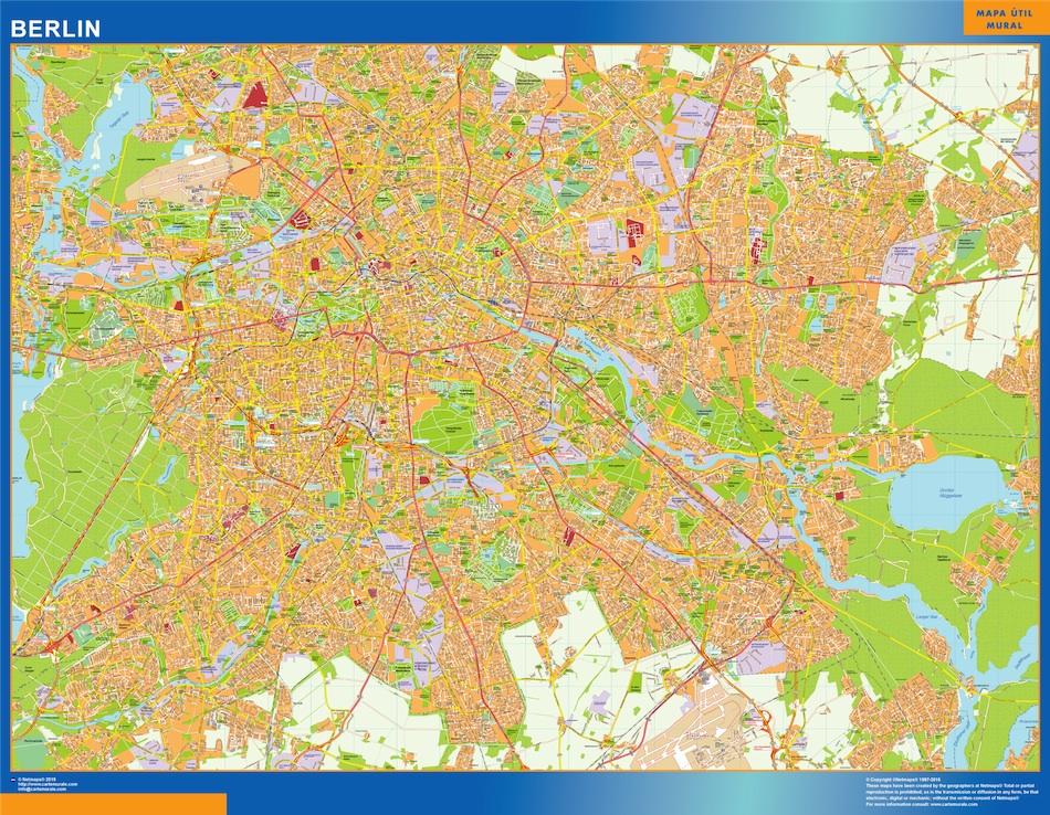 Mapa Berlin en Alemania plastificado gigante