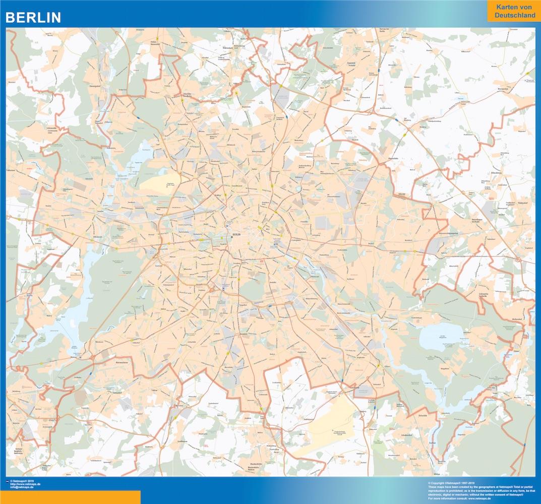 Mapa Berlin plastificado gigante