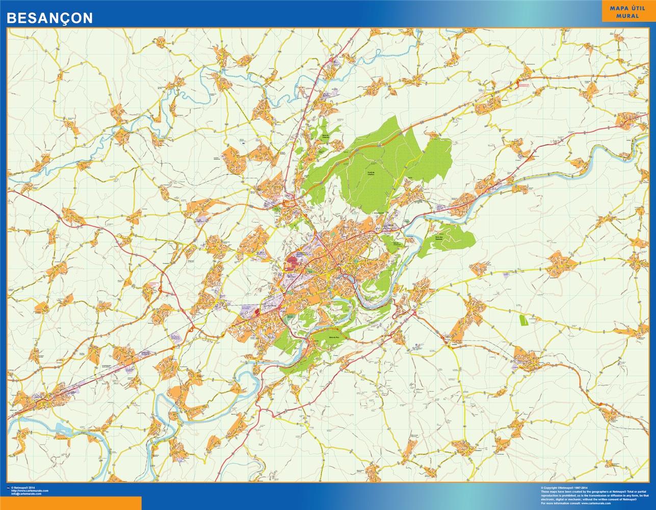 Mapa Besancon en Francia plastificado gigante