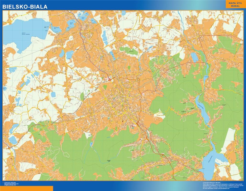 Mapa Bielsko Biala Polonia plastificado gigante