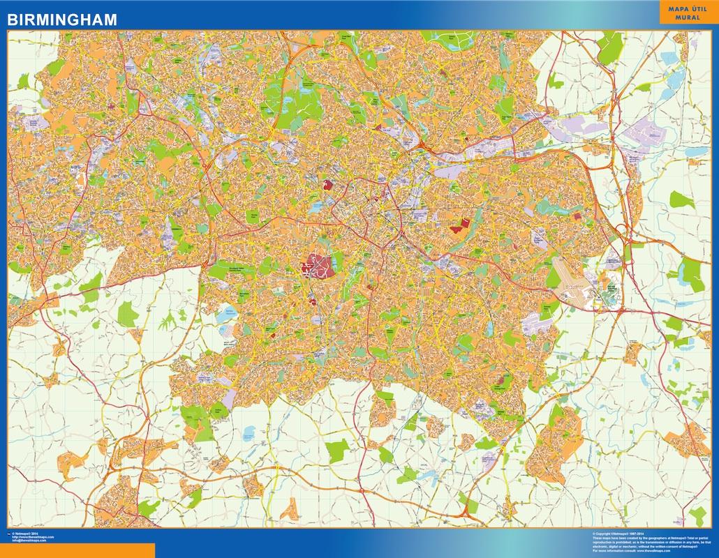 Mapa Birmingham plastificado gigante