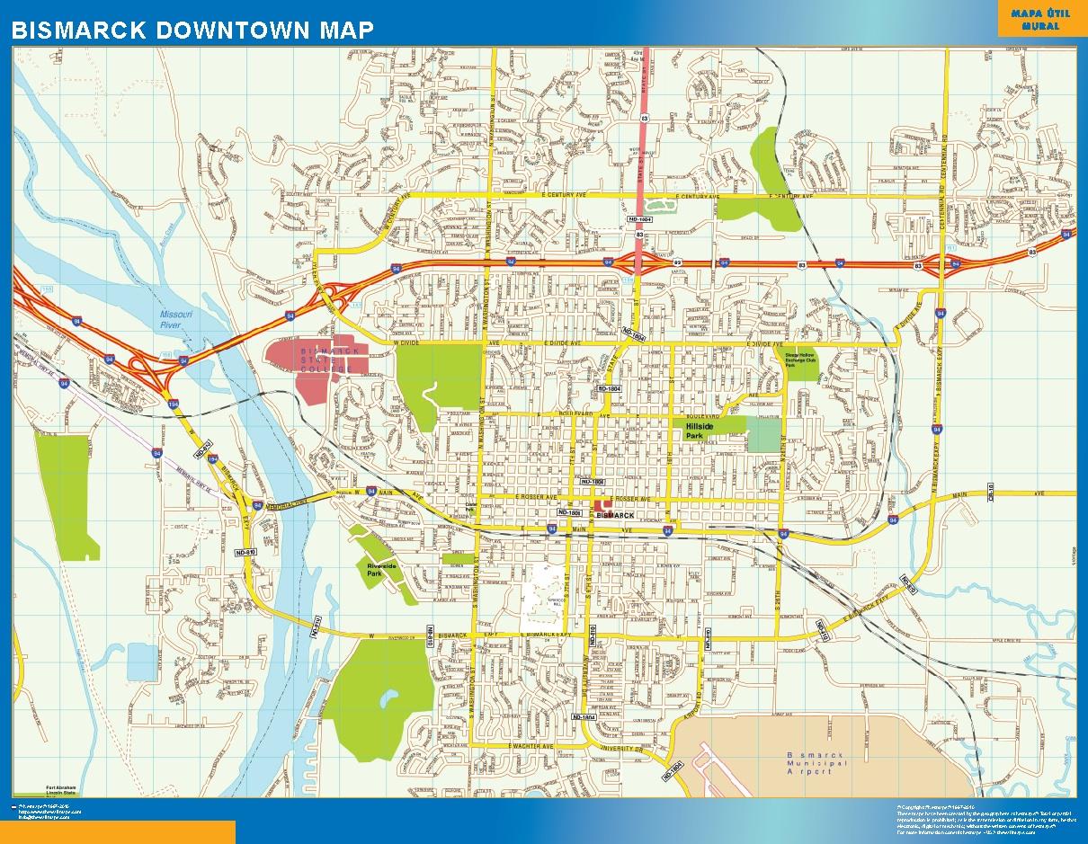 Mapa Bismarck downtown plastificado gigante