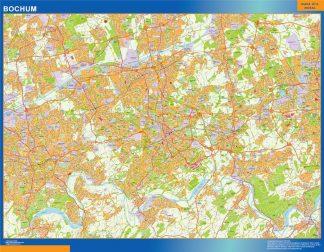 Mapa Bochum en Alemania plastificado gigante