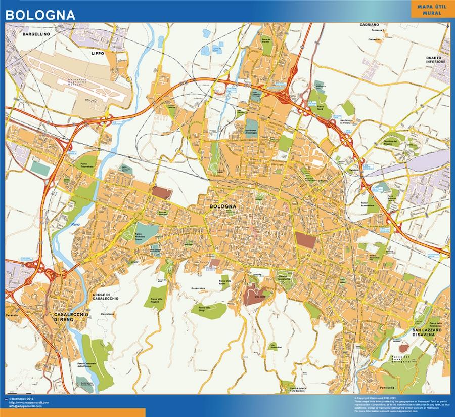 Mapa Bologna plastificado gigante