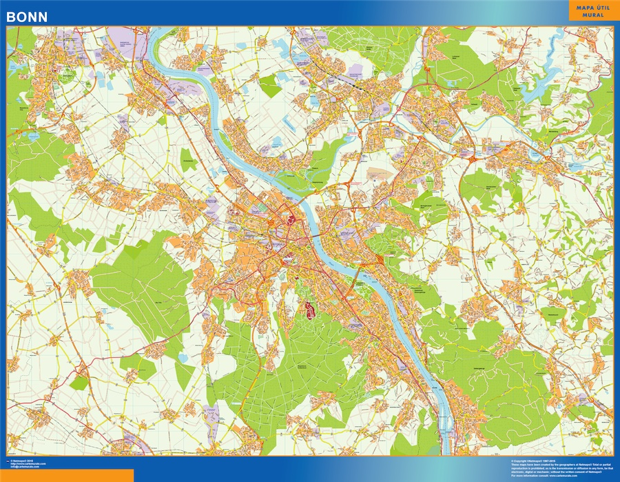 Mapa Bonn en Alemania plastificado gigante
