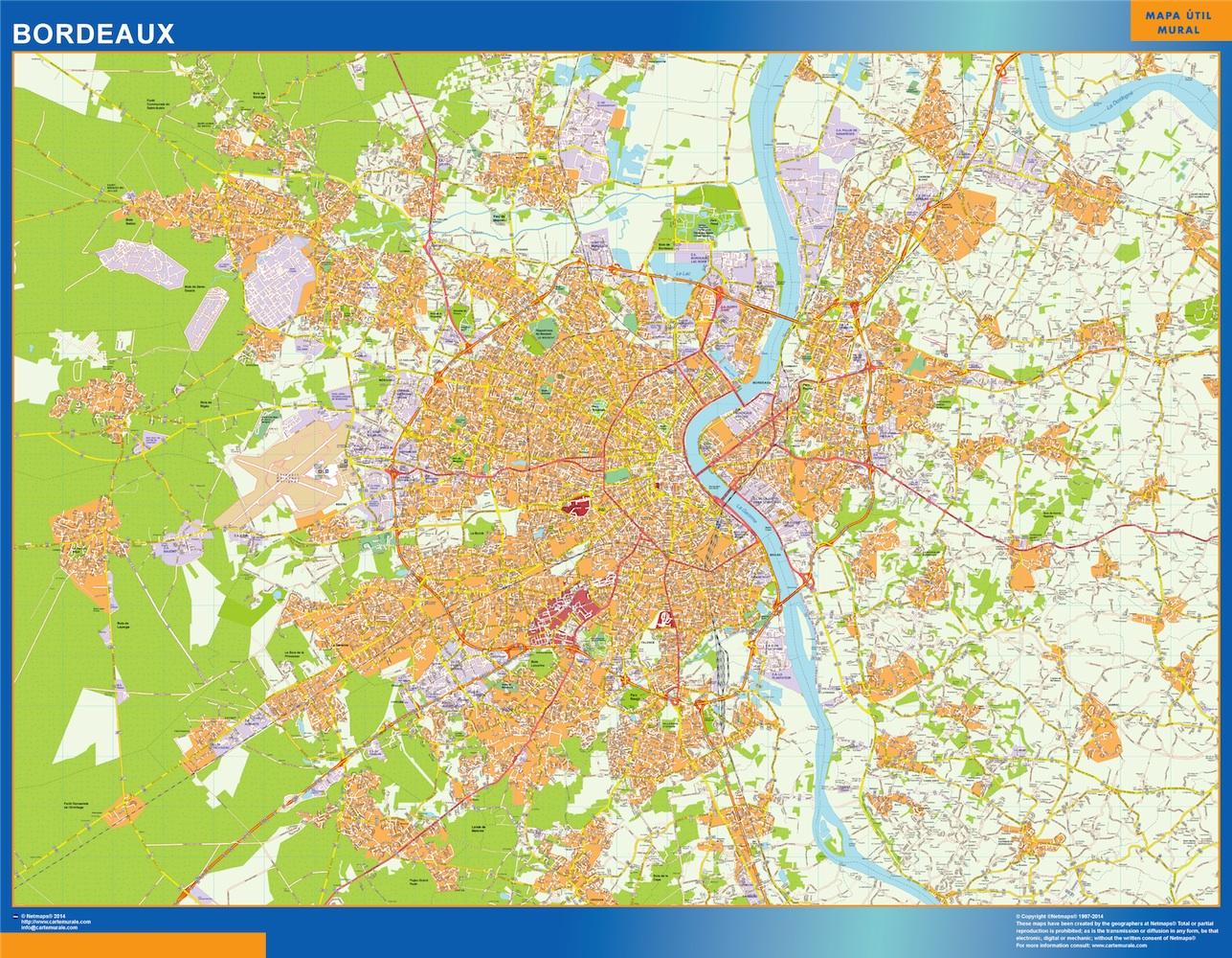 Mapa Bordeaux en Francia plastificado gigante
