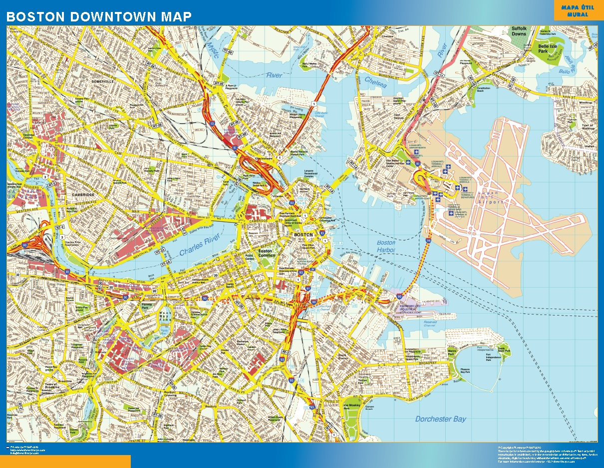 Mapa Boston downtown plastificado gigante