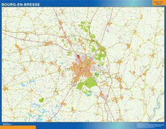 Mapa Bourg En Bresse en Francia plastificado gigante