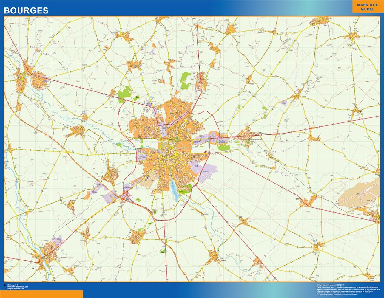 Mapa Bourges en Francia plastificado gigante