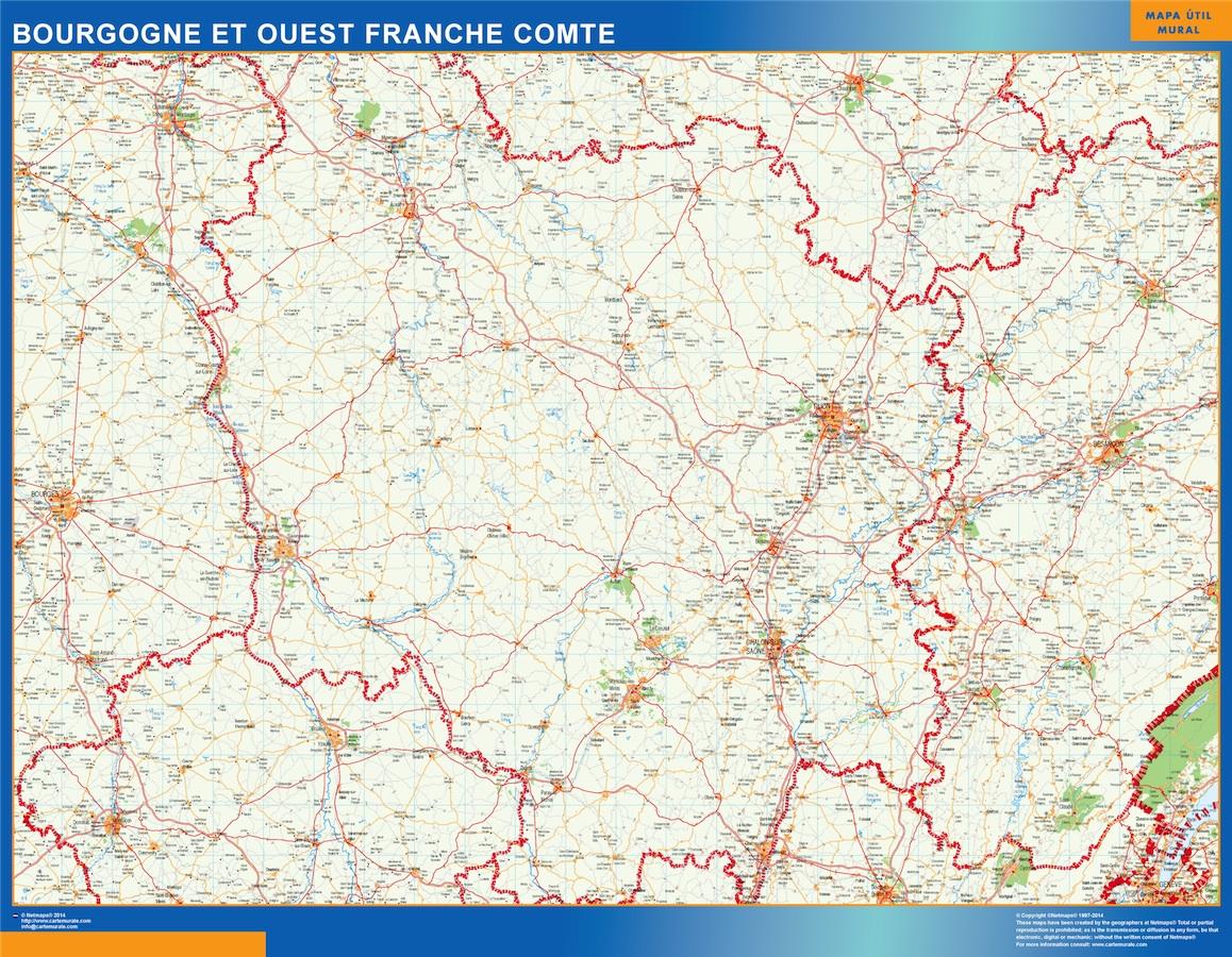 Mapa Bourgogne Franche Comte en Francia plastificado gigante