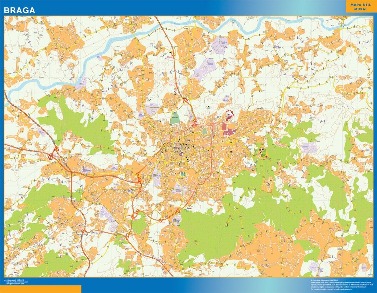 Mapa Braga en plastificado gigante