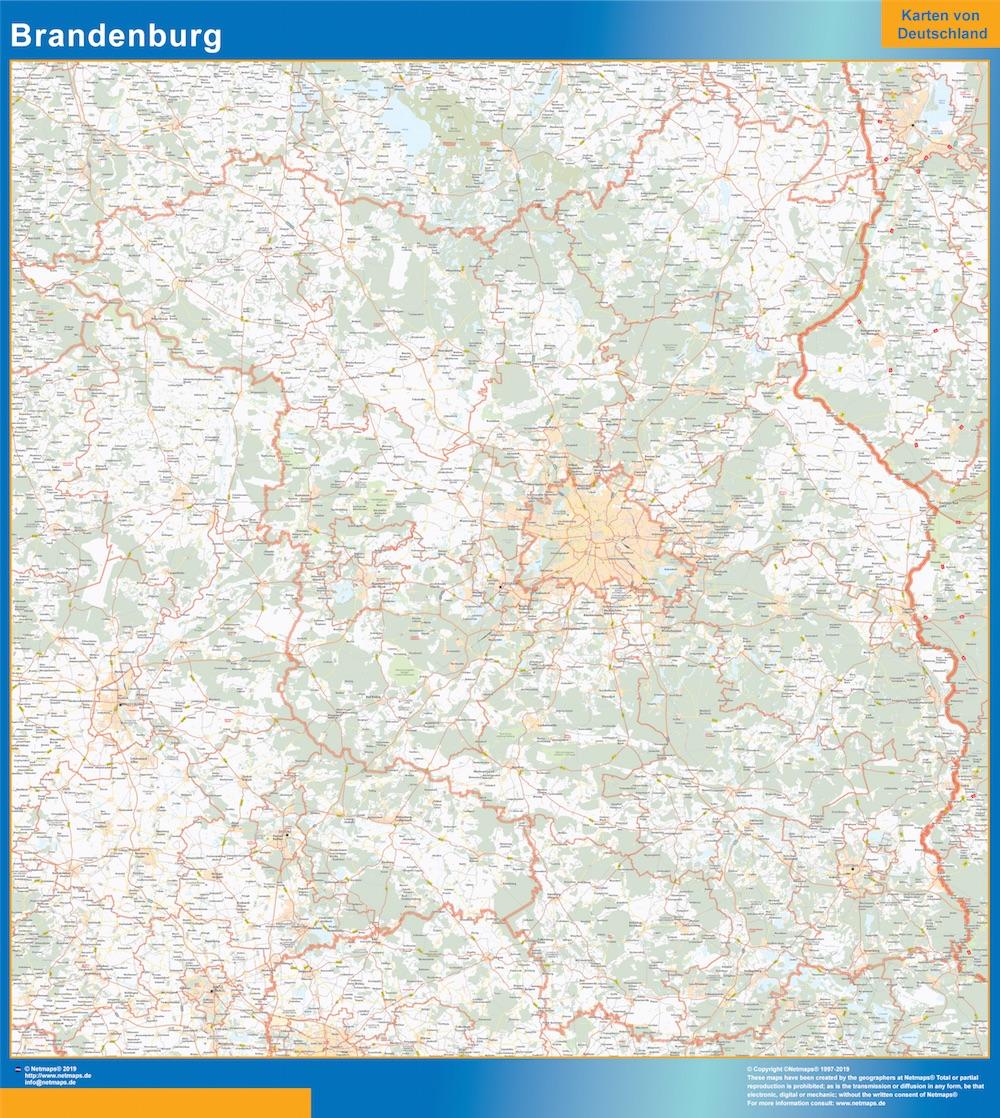 Mapa Brandenburgo plastificado gigante