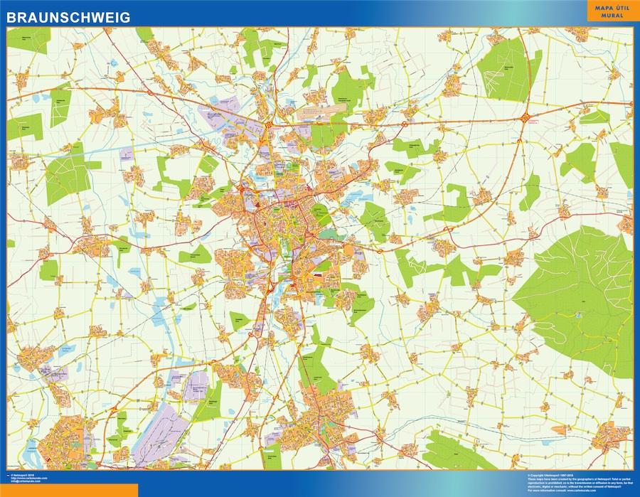 Mapa Braunschweig en Alemania plastificado gigante