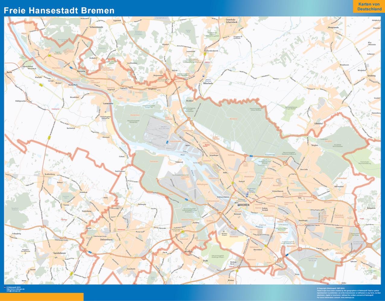 Mapa Bremen plastificado gigante
