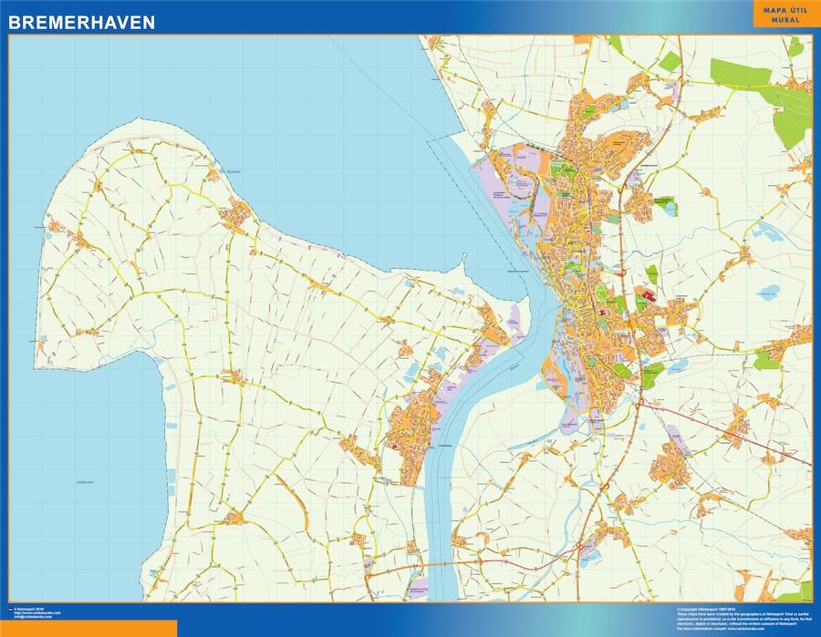 Mapa Bremerhaven en Alemania plastificado gigante
