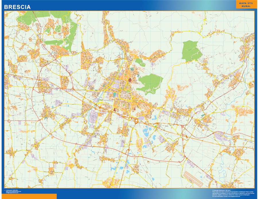 Mapa Brescia plastificado gigante