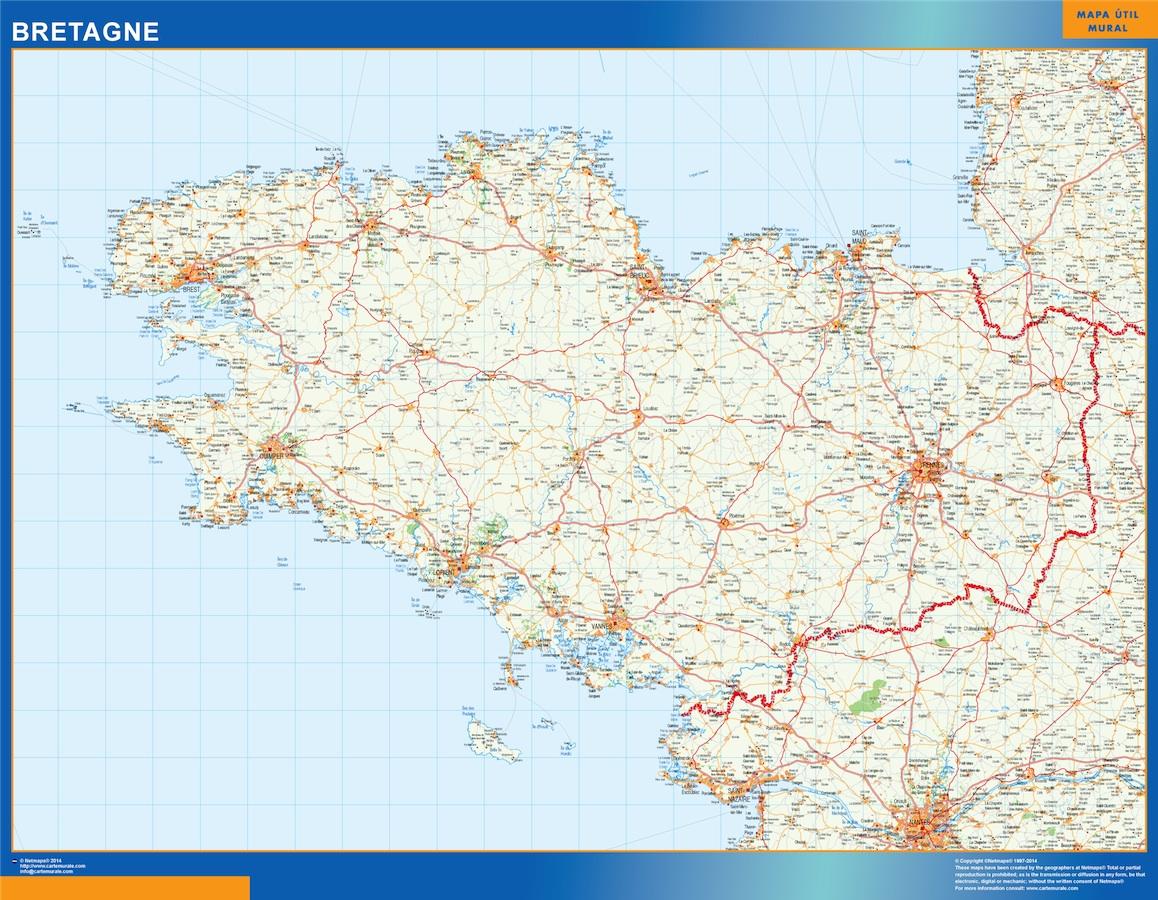 Mapa Bretagne en Francia plastificado gigante
