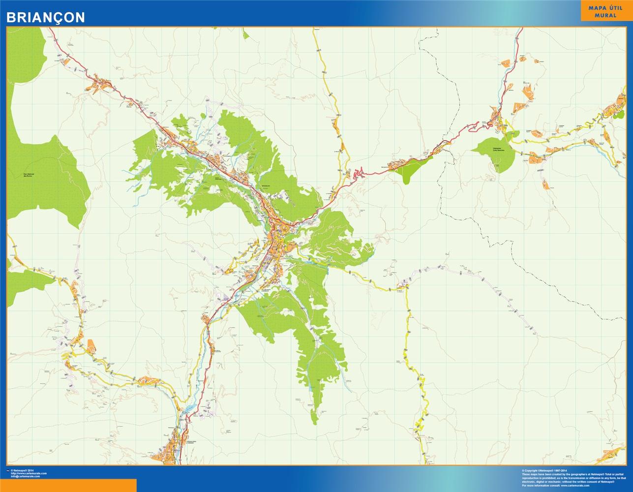 Mapa Briancon en Francia plastificado gigante