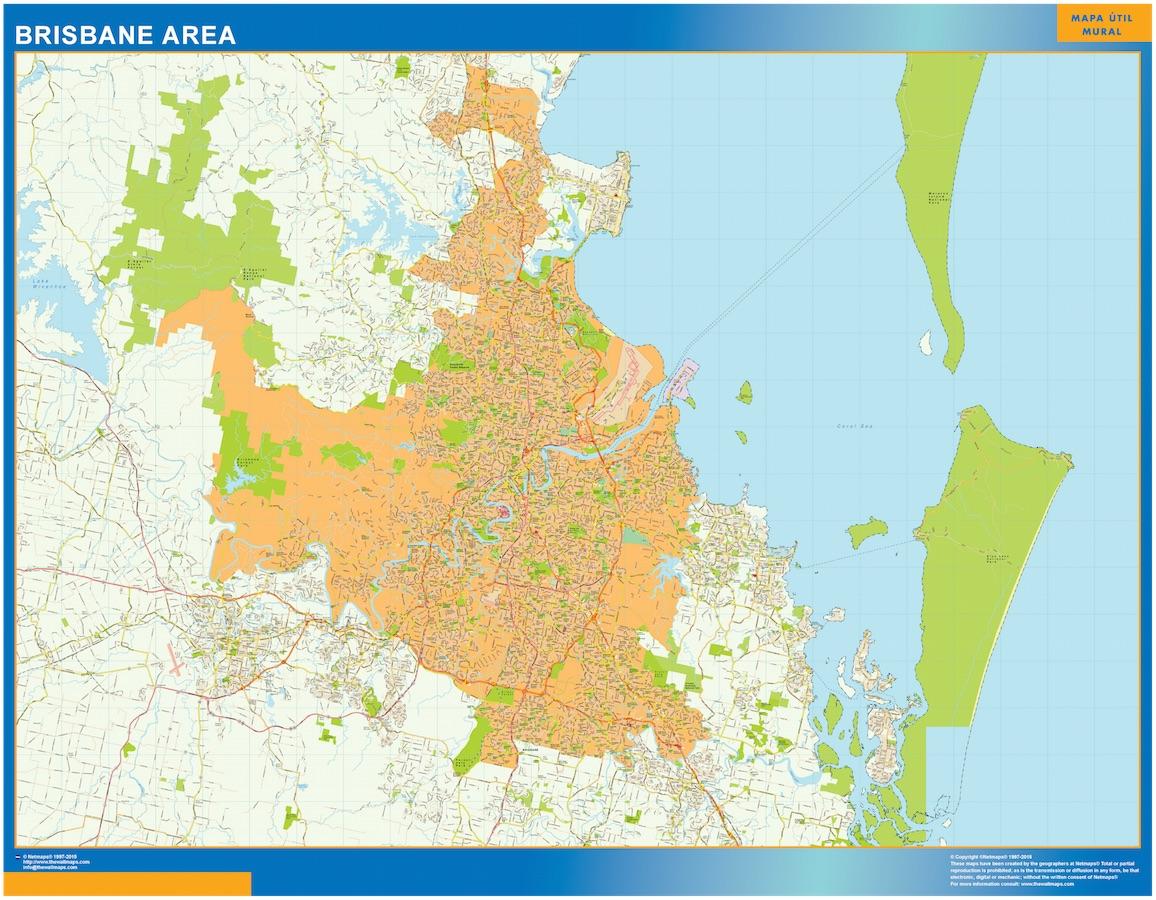 Mapa Brisbane Area Australia plastificado gigante