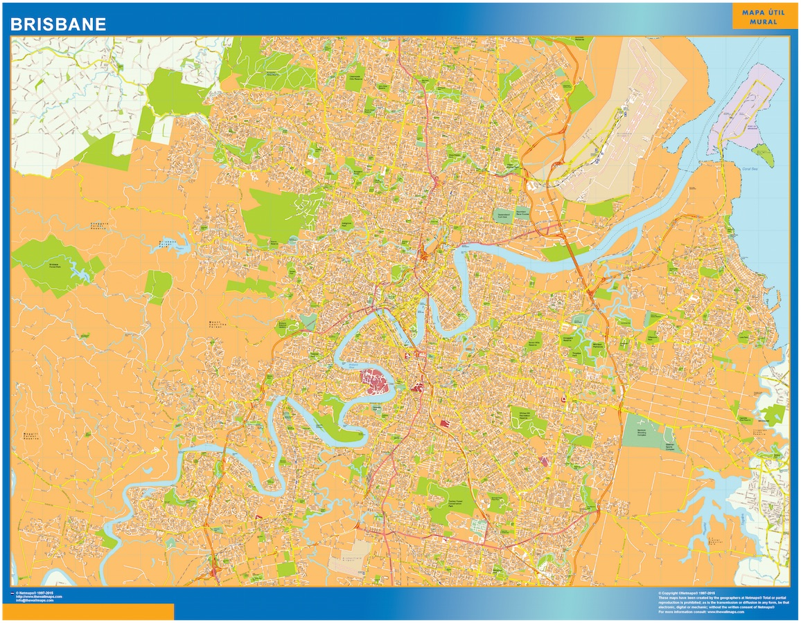 Mapa Brisbane Australia plastificado gigante