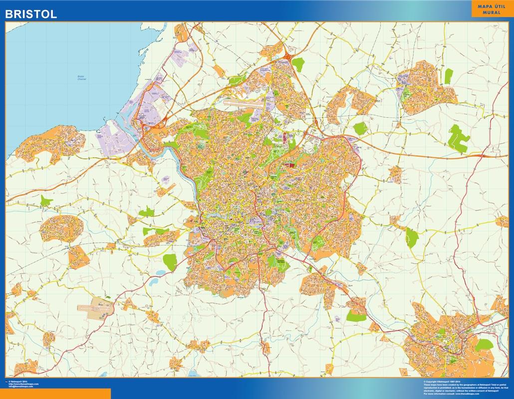 Mapa Bristol plastificado gigante