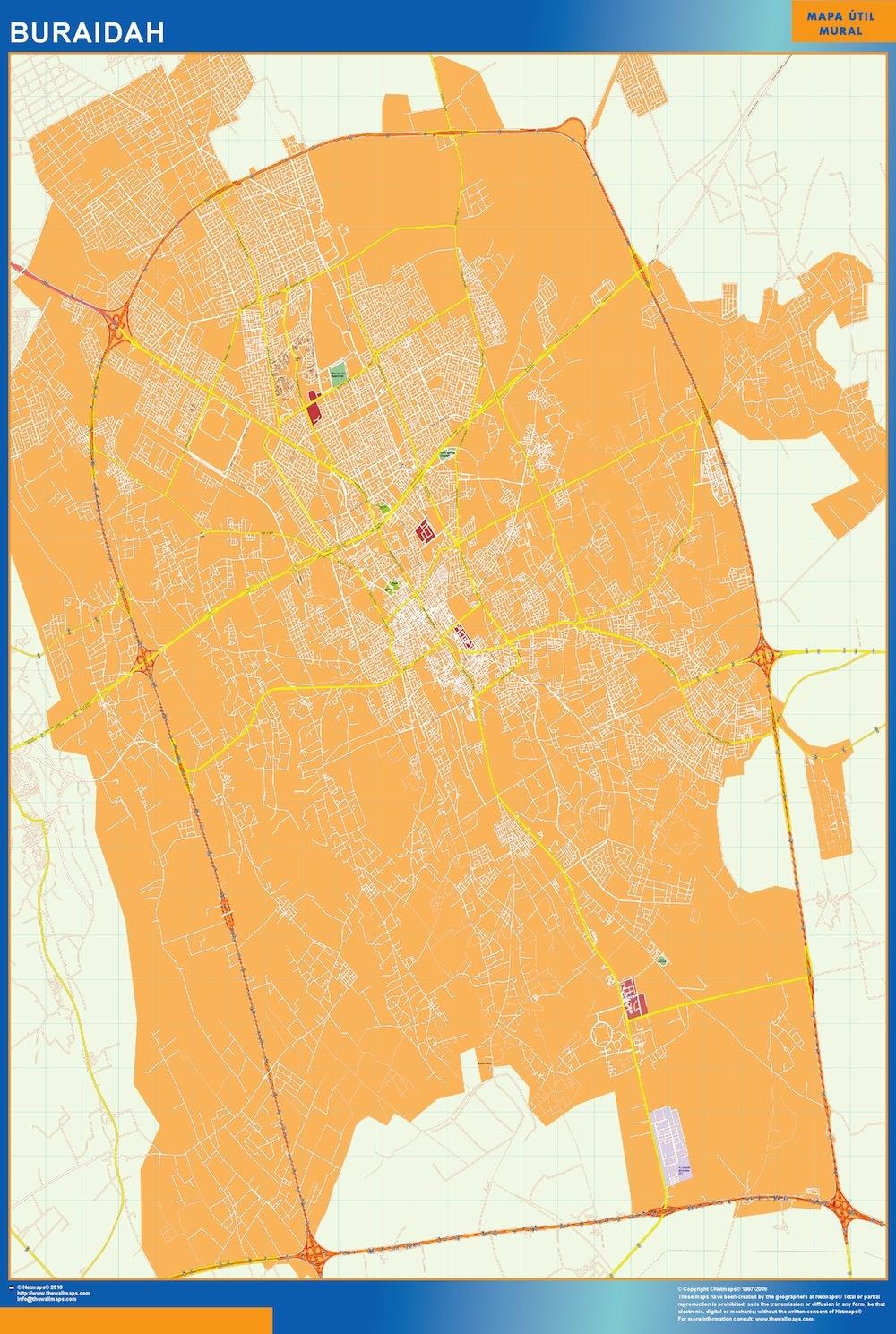 Mapa Buraidah en Arabia Saudita plastificado gigante