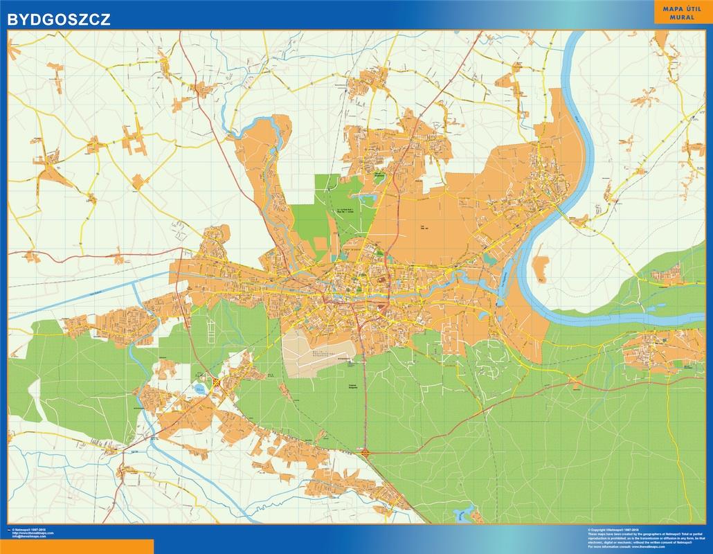 Mapa Bydgoszcz Polonia plastificado gigante
