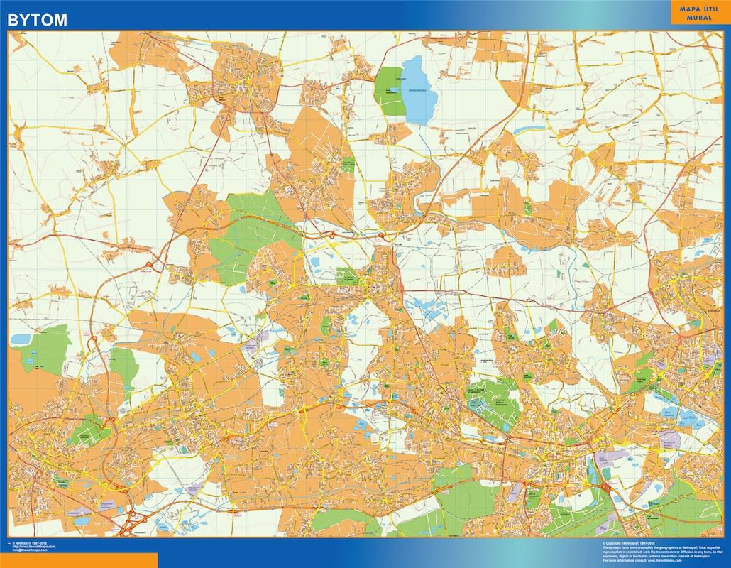 Mapa Bytom Polonia plastificado gigante