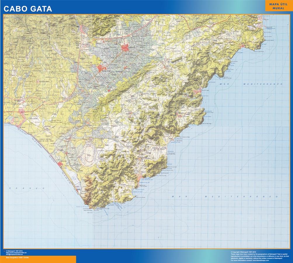 Mapa Cabo Gata plastificado gigante
