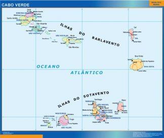 Mapa Cabo Verde plastificado gigante