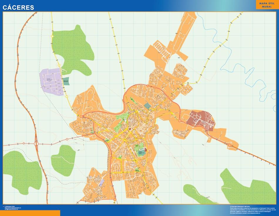 Mapa Caceres callejero plastificado gigante