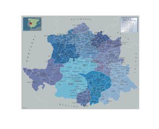 Mapa Caceres por municipios plastificado gigante