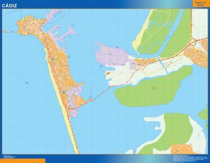 Mapa Cadiz callejero plastificado gigante