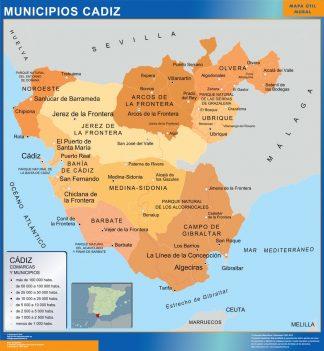 Mapa Cadiz por municipios plastificado gigante