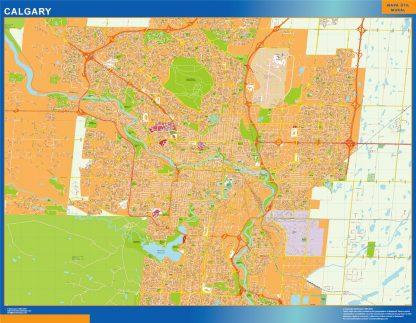 Mapa Calgary en Canada plastificado gigante
