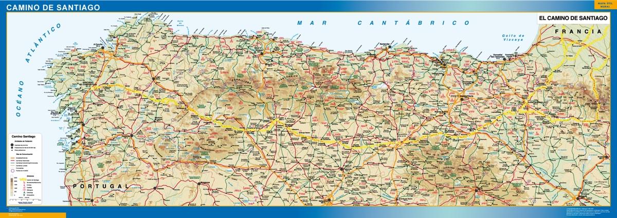 Mapa Camino Santiago plastificado gigante