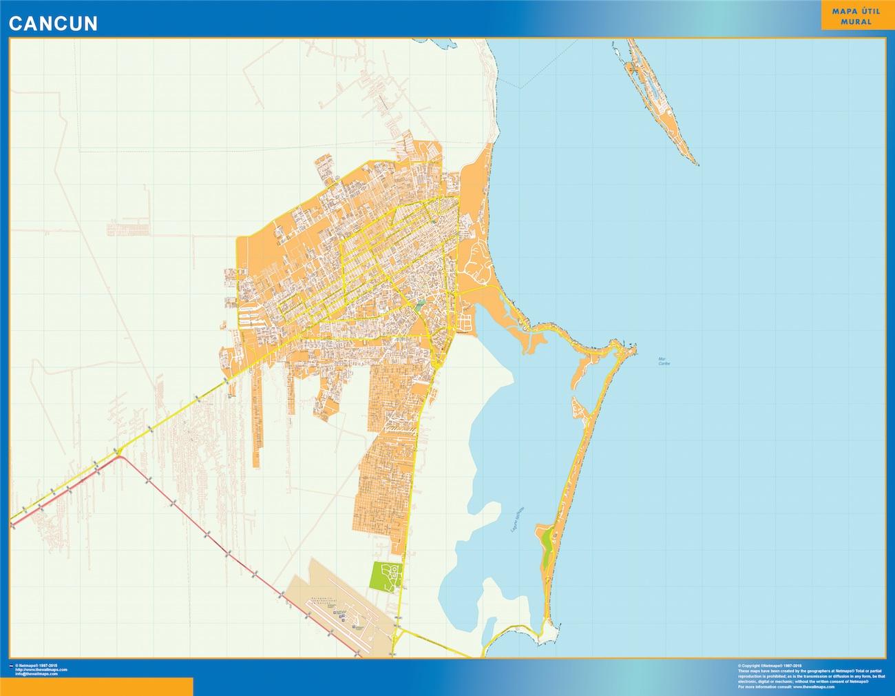 Mapa Cancun en Mexico plastificado gigante